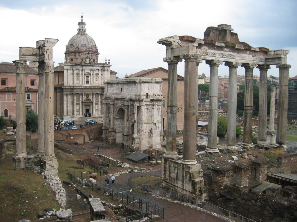 The Roman Forum—Temple of Vespasian and Titus, Arch of Septimius Severus and Temple of Saturn