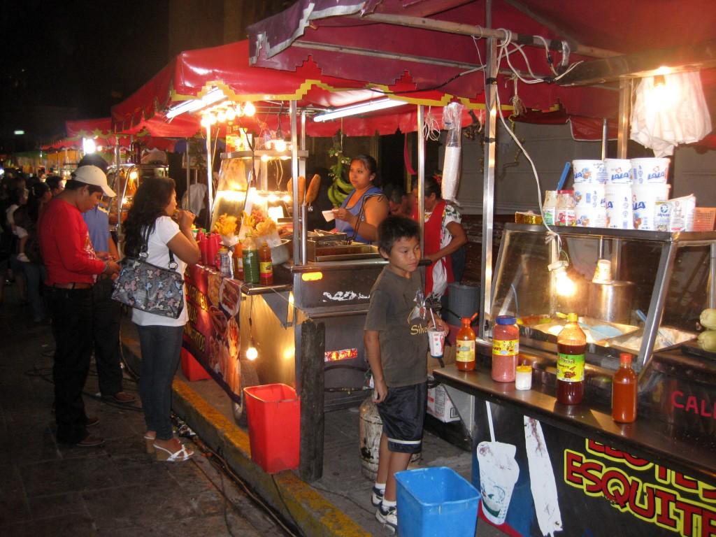 Night market in Zócalo (Plaza Mayor)... ...wish I had the guts to try street food