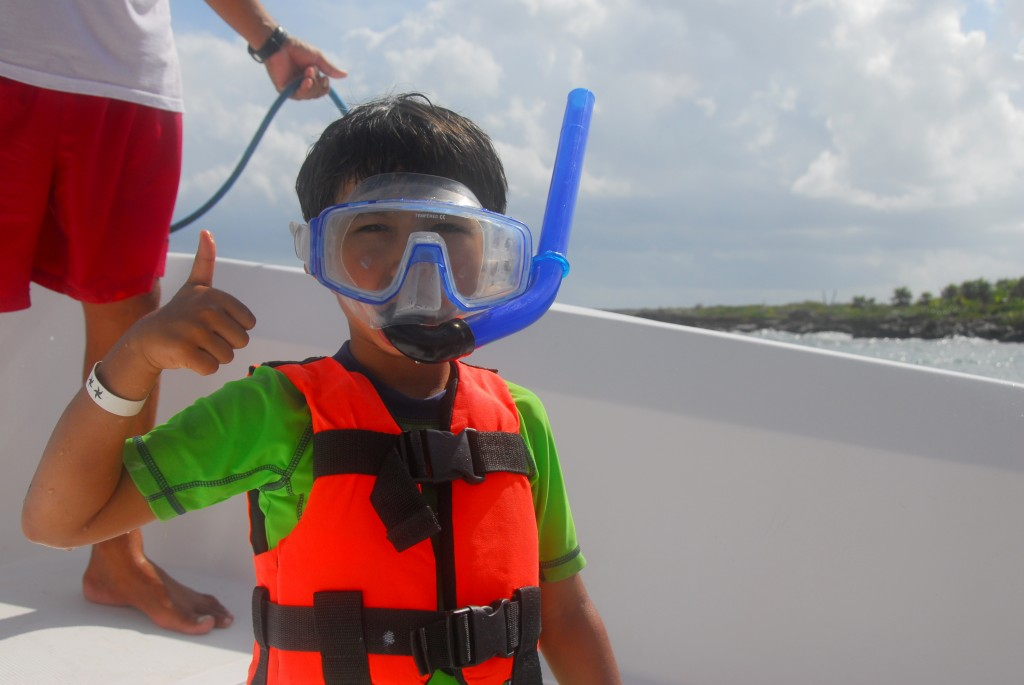 He was so excited... ...he didn't realize he was wearing an adult-sized snorkel!