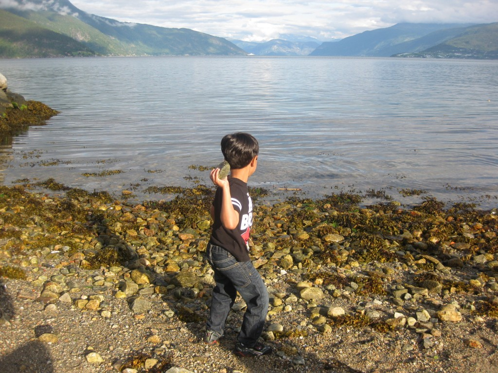 The small boy, the big stone and the longest open (ice-free) fjord in the world (Sognefjord)
