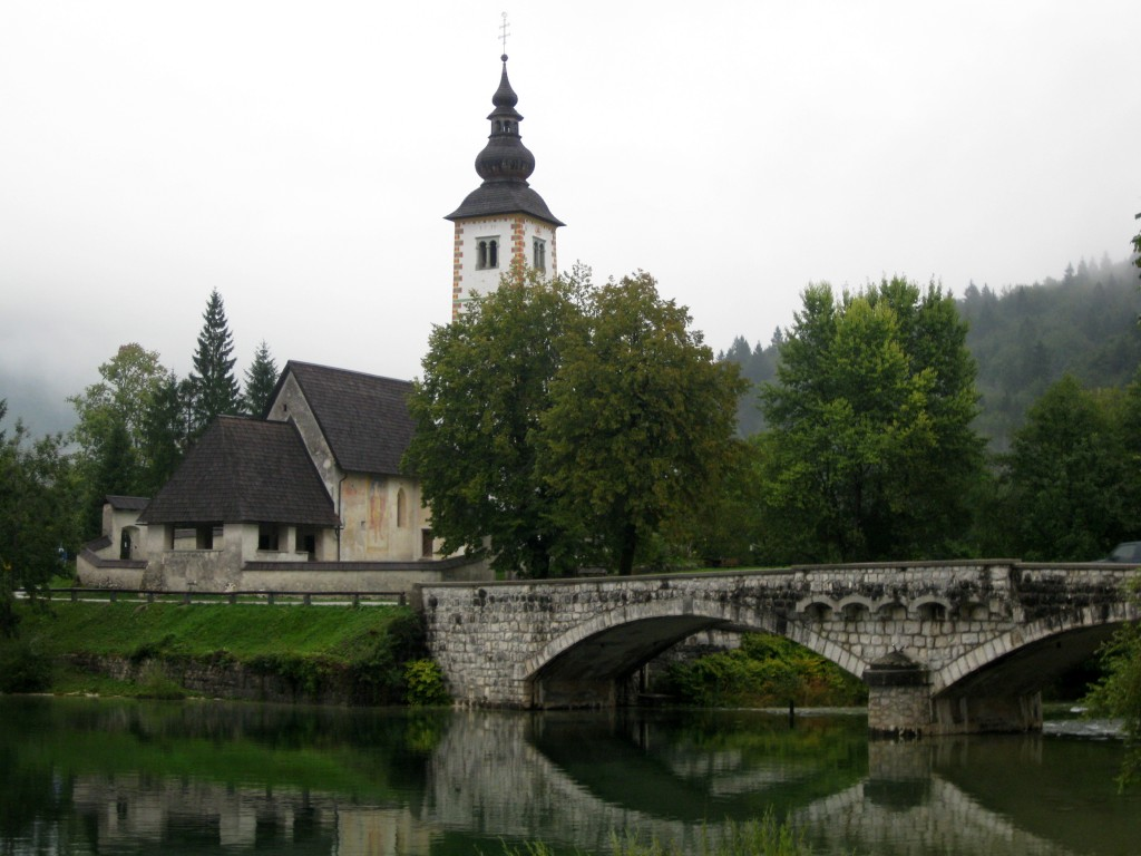 Church of St John the Baptist on the shores of Lake Bohinj