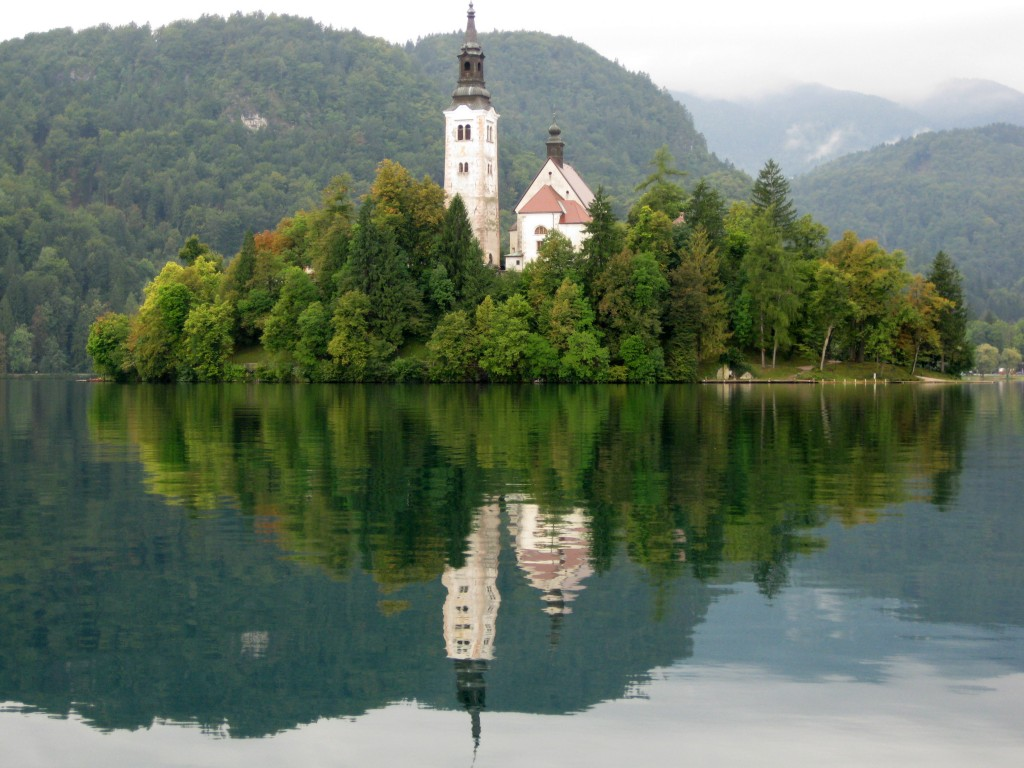 Bled island—rising beautifully in the middle of glacial Lake Bled