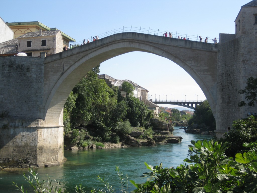 The beautiful Stari Most (Old Bridge)—reconstruction of a 16th-century Ottoman bridge after it was destroyed during the Croat–Bosniak War in 1993