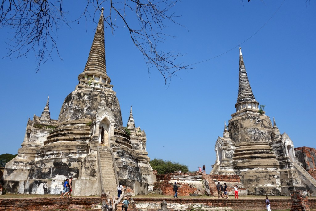 Towering chedis at Wat Phra Si Sanphet (holiest temple in the Royal Palace)... ...they were built in the 15th century to store the ashes of the royal family of the Ayutthaya kingdom