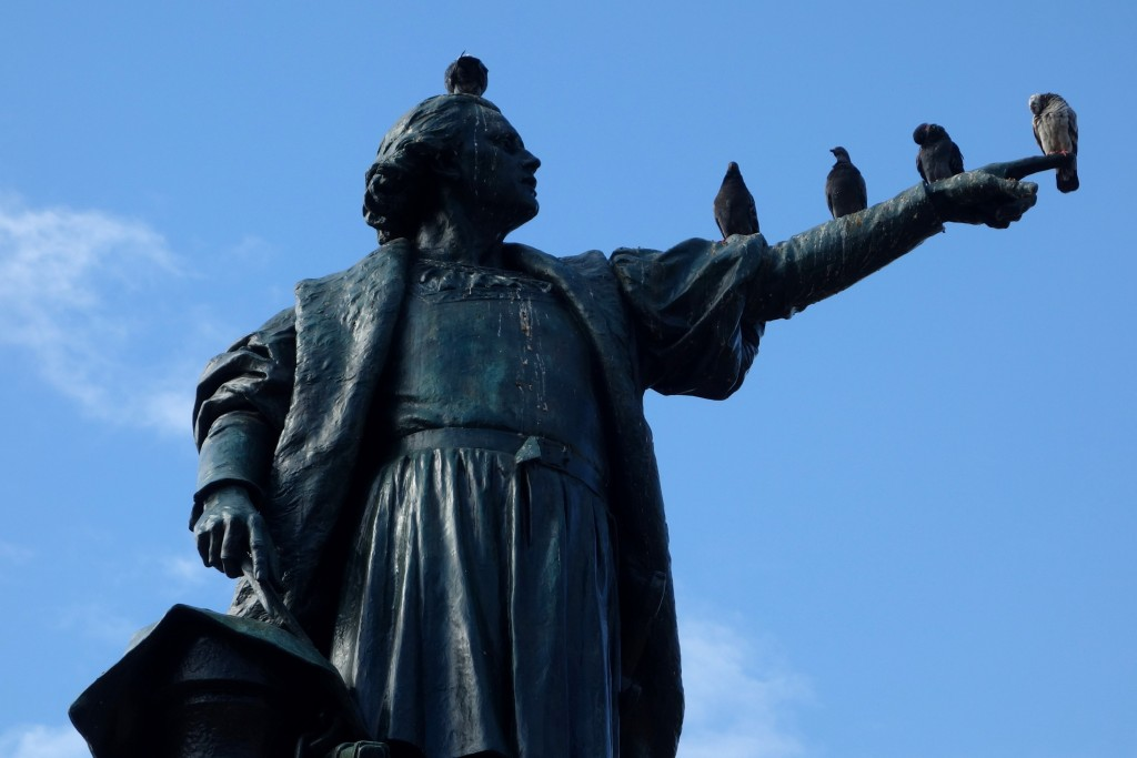 Late-19th-century statue of Christopher Columbus by French Sculptor Ernest Gilbert, stands tall in Parque Colón