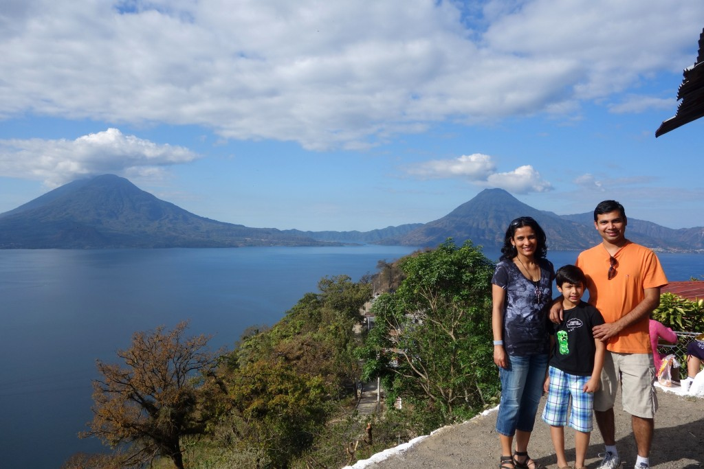 Picturesque Lake Atitlán and her volcanoes—Tolimán (left), Atitlán (behind Tolimán) and San Pedro (right)