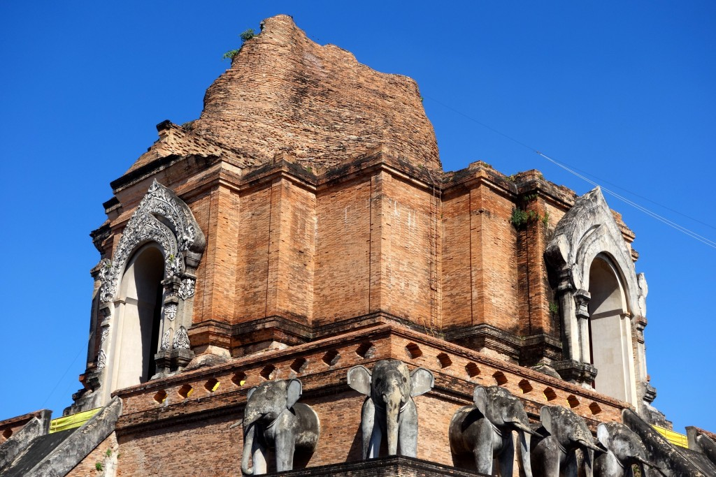 Wat Chedi Luang... ...a 14th century temple; it stood 84m tall until an earthquake in 1545 toppled 30m of its structure